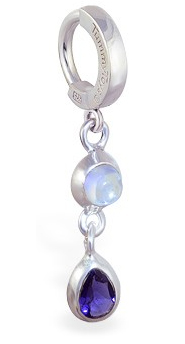 TummyToys Moon Stone Iolite Huggy - Solid Silver Clasp with Natural Moonstone Gems with Iolite