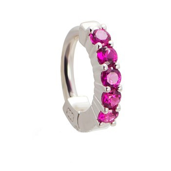 TummyToys® Solid 925 Silver Huggy with Pink Diamante. Quality Belly Rings.