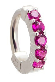 TummyToys Solid 925 Silver Huggy with Pink Diamante - Snap Lock Boutique Navel Jewellery