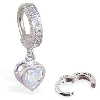 TummyToys® Paved Silver Heart Bezel Set - Belly Button Rings