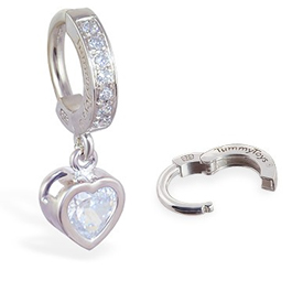 TummyToys® Paved Silver Heart Bezel Set