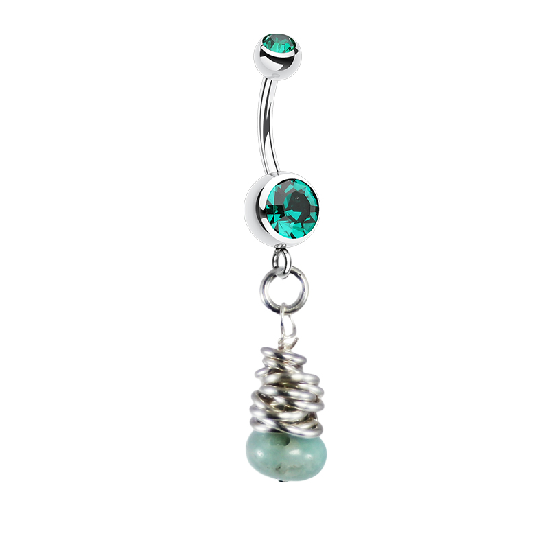Saltwater Silver Green Agate Belly Bar. Belly Rings Australia.