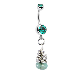 Saltwater Silver Green Agate Belly Bar - Solid Silver Hand Crafted Belly Rings