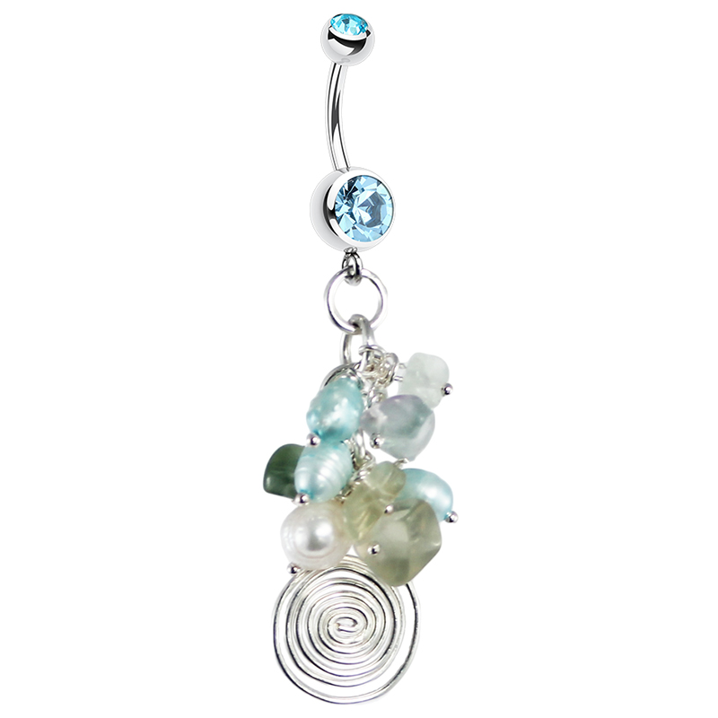 Blue Freshwater Pearl Quartz Cluster. Belly Rings Australia.