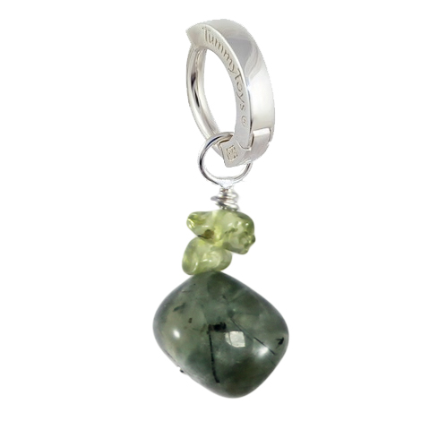 Saltwater Silver Prehnite with Peridot. Silver Belly Rings.