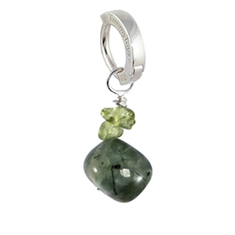 Saltwater Silver Prehnite with Peridot - Solid Silver Australian Hand Crafted Prehnite and Peridot Belly Huggy Charm