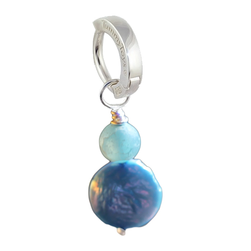 Saltwater Frosted Agate and Blue Pearl. Designer Navel Rings.