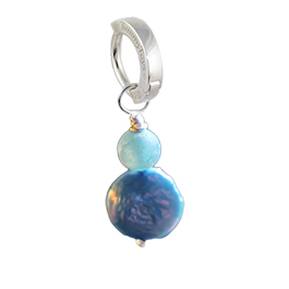 Saltwater Frosted Agate and Blue Pearl - Solid Silver Australian Hand Crafted Frosted Agate with Blue Freshwater Pearl
