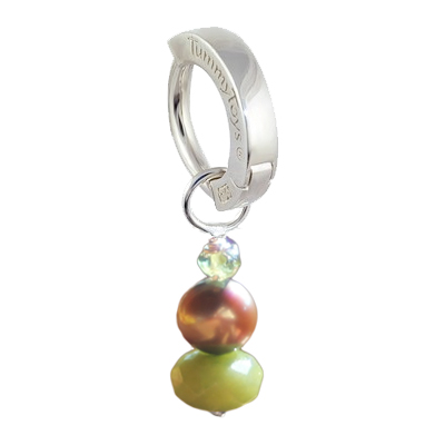 Saltwater Silver Brown Pearl with Peridot. Belly Bars Australia.