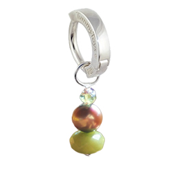 Saltwater Silver Brown Pearl with Peridot - Solid Silver Australian Hand Crafted Brown Pearl and Peridot Belly Huggy Charm