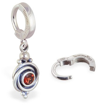 TummyToys® 925 Silver Garnet Huggy. Belly Rings Australia.
