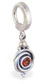 TummyToys 925 Silver Garnet Huggy - Solid Silver Clasp with Rich Red all Natural Garnet Gemstone