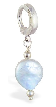 TummyToys Grey Freshwater Coin Pearl - Solid 925 Silver Clasp Snap Lock Body Jewellery