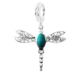 Saltwater Silver Turquoise Dragonfly - TummyToys Solid Silver Australian Hand Crafted Belly Huggy