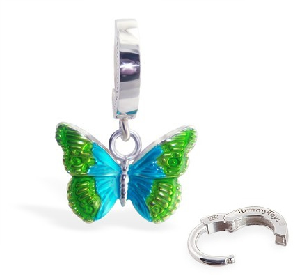 TummyToys® Silver Butterfly Belly Ring. Belly Bars Australia.