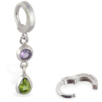 TummyToys® Amethyst Peridot Huggy. Belly Rings Australia.