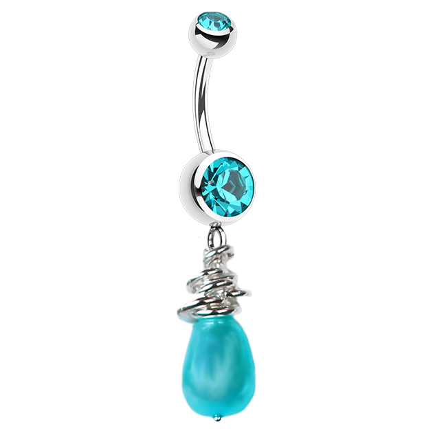 Saltwater Silver Marine Pearl Belly Bar. Belly Bars Australia.