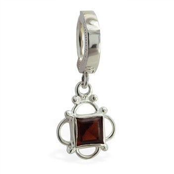 TummyToys® 925 Silver Garnet Sleeper. Quality Belly Rings.