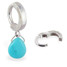 TummyToys 925 Silver Turquoise Sleeper - Solid Silver Clasp with Vibrant all Natural Turquoise Gemstone