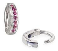 TummyToys White Gold Ruby Pave Sleeper - Solid 14k White Gold Belly Ring with Rubies