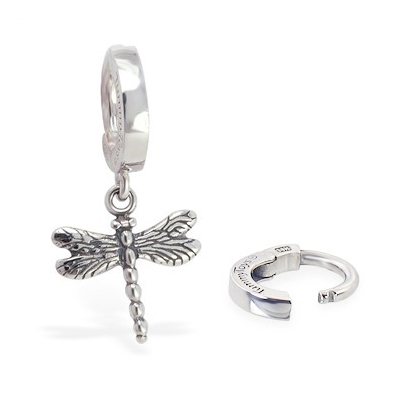 TummyToys® 925 Silver Dragonfly Huggy. Shop Belly Rings.