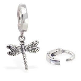 TummyToys 925 Silver Dragonfly Huggy - Solid Silver Snap Lock Dangly Belly Rings
