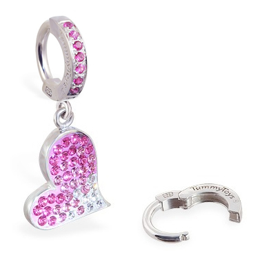 TummyToys® Paved Swarovski Heart - Quality Belly Bars Australia