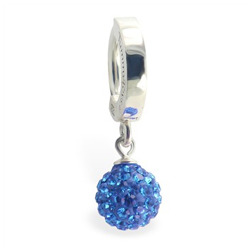 TummyToys® Silver Blue Disco Ball Huggie - Quality Navel Rings