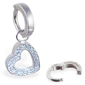 TummyToys® Silver Floating Heart Swinger - Navel Rings Online