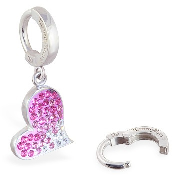 TummyToys® Pink Swarovski Crystal Heart - Belly Button Rings