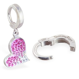 TummyToys® Pink Swarovski Crystal Heart - Snap Lock Belly Button Rings