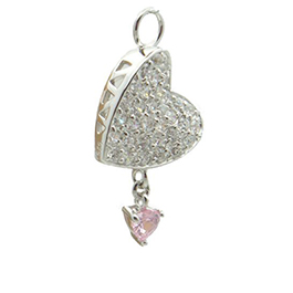 TummyToys® Paved Cubic Zirconia Pink Drop Heart Charm