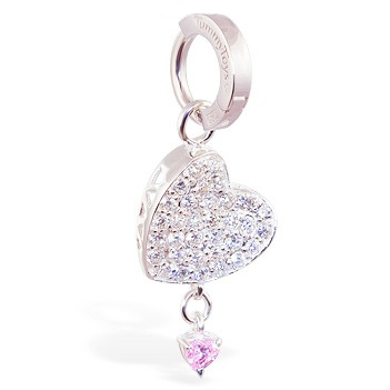 TummyToys® Silver Floating Paved Heart with Pink Drop Swinger - Belly Button Rings