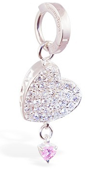 TummyToys Silver Floating Paved Heart with Pink Drop Swinger - Plus a Solid Silver Clasp Lock Belly Ring