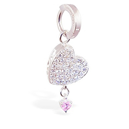 TummyToys® Silver Floating Paved Heart with Pink Drop Swinger