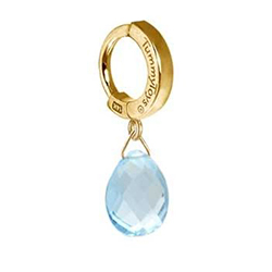 TummyToys® Solid 14K Yellow Gold Blue Topaz Drop