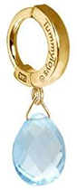 TummyToys Solid 14K Yellow Gold Blue Topaz Drop - Designer Snap Lock Belly Ring