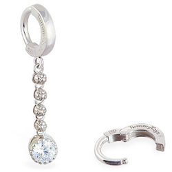 TummyToys Flower Chain Navel Ring - Silver Cubic Zirconia Belly Ring
