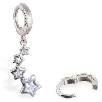 TummyToys® Silver CZ Shooting Stars Navel Jewellery - Belly Button Rings