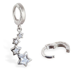 TummyToys® Silver CZ Shooting Stars Navel Jewellery - CZ Dangling Star Pendant Belly Ring