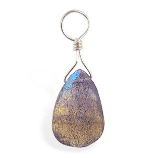 Belly rings. TummyToys Faceted Labradorite Swinger Charm - Changeable Floating Swinger Charm