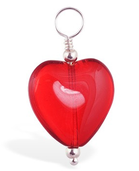High End Belly Rings . TummyToys Dangly Red Heart Swinger Charm - Changeable Floating Swinger Charm