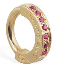 TummyToys Yellow Gold Ruby Pave Sleeper - Solid 14k Yellow Gold Belly Ring with Rubies