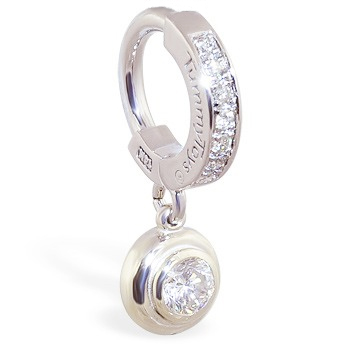 TummyToys® White Gold Belly Ring with 1/4 Ct Diamond Pendant. High End Belly Rings.