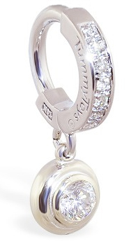 TummyToys White Gold Belly Ring with 1/4 Ct Diamond Pendant - Solid 14k White Gold Navel Ring with REAL diamonds
