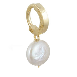 TummyToys® Solid 14K Yellow Gold with Coin Freshwater Pearl Pendant