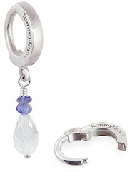 TummyToys Natural Gem Belly Ring Pendant - Hand Made Silver, Iolite and Crystal Pendant Clasp