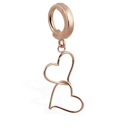 TummyToys® Solid Rose Gold Hand Made Double Heart Belly Ring - 14K Solid Rose Gold Navel Ring