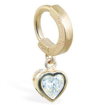 Navel Jewellery. TummyToys Yellow Gold Cubic Zirconia Heart Belly Ring - Solid Yellow Gold Snap Lock Belly Ring