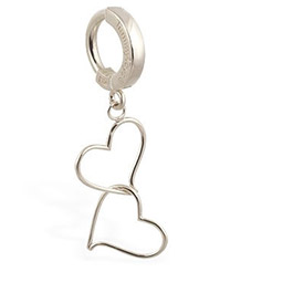 TummyToys® White Gold Hand Made Double Heart Belly Ring